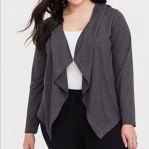 Torrid Gray Hooded Drape Cardigan Size 4X
